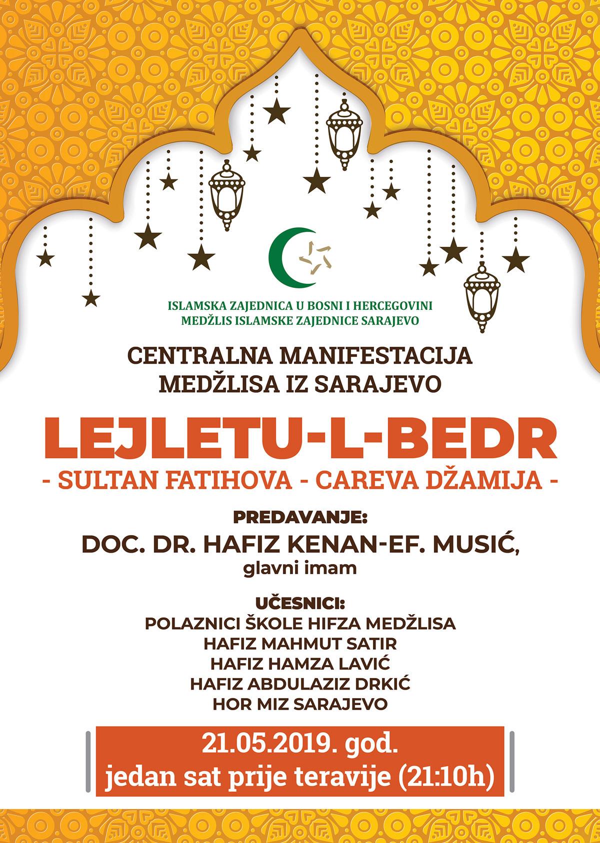 Centralna manifestacija MIZ Sarajevo LEJLETU-L-BEDR