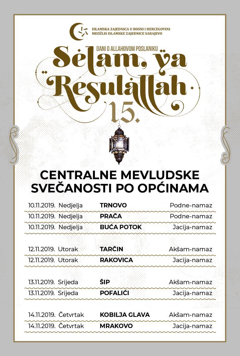 Centralne mevludske svečanosti po općinama