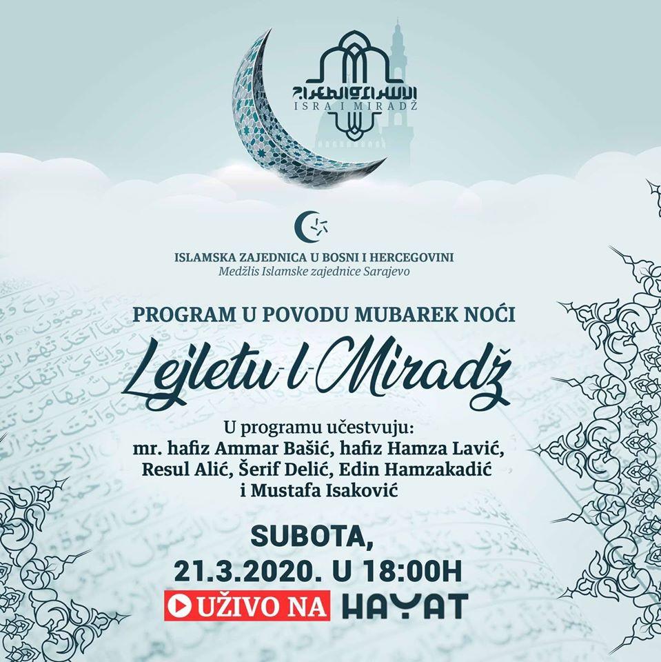 Program u povodu mubarek noći Lejletu-l-Miradž