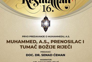 Prvo predavanje o Muhammedu, a.s., uživo putem RTV BIR i FaceBook stranice sarajevskimedzlis.ba