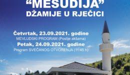 Svečano otvorenje džamije Mesudija u naselju Rječica 24. septembra 2021. godine